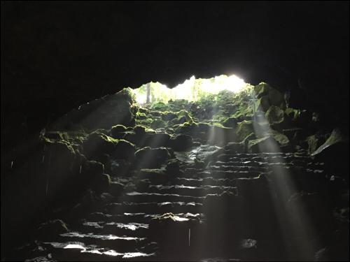 駒門風穴中から見た入口と差し込む光