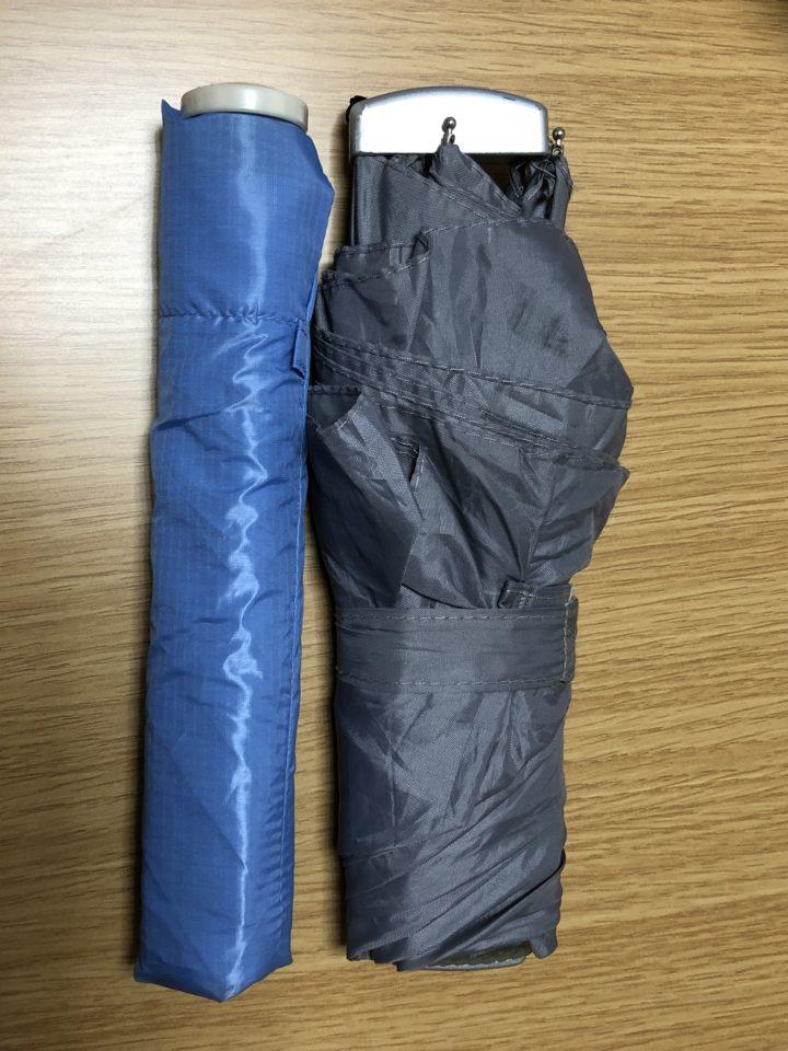 普通のコンパクト折り畳み傘とペンタゴン72を比較した画像