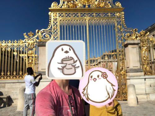 ヴェルサイユ宮殿で記念撮影