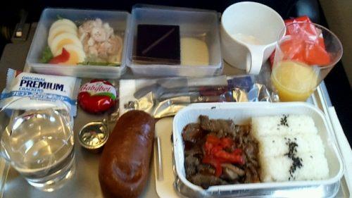 初めての機内食